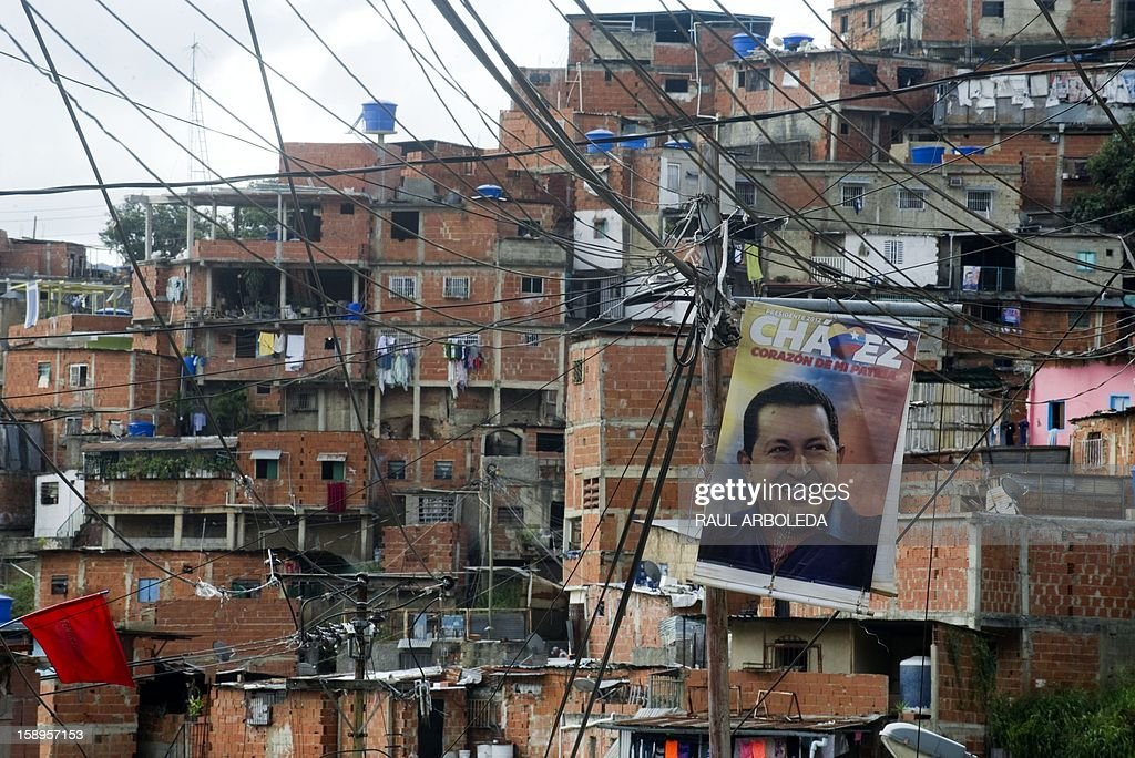 A poster with the image of Venezuelan President Hugo Chavez is seen in the populous Petare slum in Caracas on January 4, 2013. Hugo Chavez's top aides have gone on the offensive, accusing the opposition and media of waging a 'psychological war,' as Venezuela's cancer-stricken president battles a serious lung infection. The closing of ranks followed a high-level gathering of top Venezuelan officials in Havana with Chavez, amid growing demands to know whether he will be fit on January 10 to take the oath of office for another six-year-term. AFP PHOTO/Raul ARBOLEDA