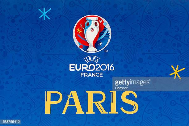 A poster with the UEFA 2016 European Championship logo is seen at the fan zone on June 08 2016 in Paris France The Euro 2016 fan zone in the French...