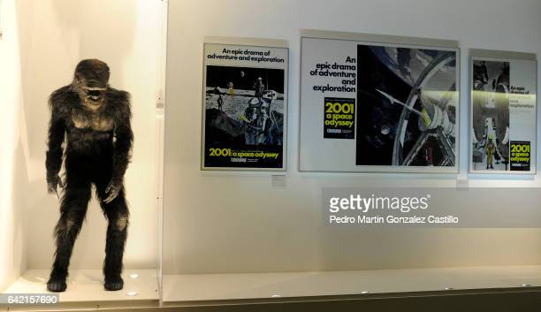 Posters and a monkey disguise belonging to Stanley Kubrick's movie 2001 A Space Odyssey are exhibited as part of the Stanley Kubrick 'La Exposicion'...