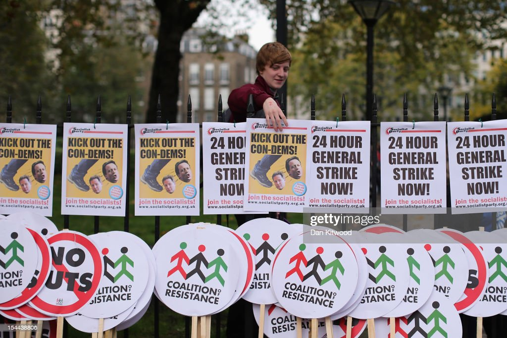 Posters and placards are lined up for participants in a TUC march in protest against the government's austerity measures set off from the Embankment on October 20, 2012 in London, England. Thousands of people are taking part in the Trades Union Congress (TUC) organised anti-cuts march that ends with a rally in Hyde Park, where Labour leader Ed Miliband is scheduled to address the demonstrators.