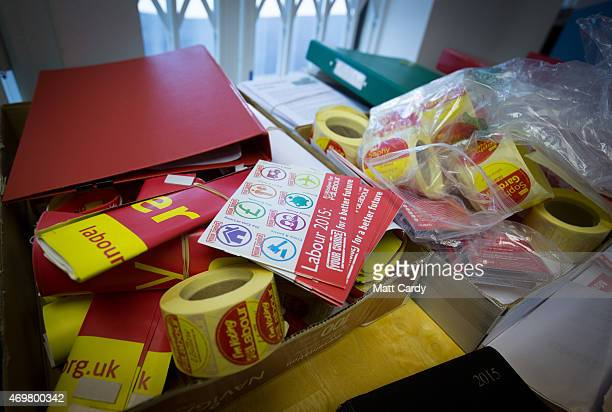 Posters are seen in the campaign office of Labour parliamentary candidate Sophy Gardner ahead of the general election on April 15 2015 in Gloucester...