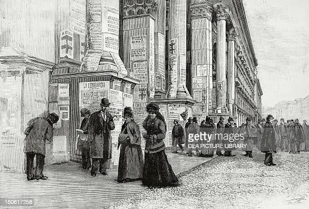 Posters for the electoral campaign posted on the columns of the arcades of the Galleria Victor Emmanuel in Milan November 1882 Italy 19th century
