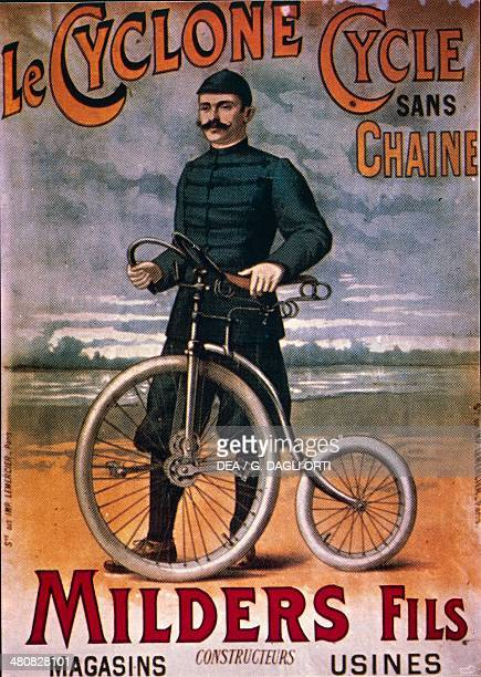 Posters France 20th century Le Cyclone Cycle sans chaine Advertisment for the bicycle without chain early 1900s Paris Bibliothèque Des Arts Decoratifs