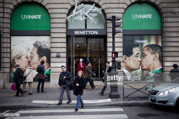 Posters from Benetton Group SpA's ''Unhate'' advertising campaign showing doctored images of German Chancellor Angela Merkel kissing French President...