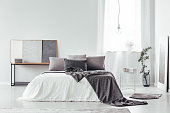 Patterned blanket on bed with grey pillows in cozy bedroom with vase, posters and copy space on white wall