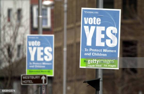 Posters in the centre of Dublin propogating the forthcoming referendum to decide whether a woman who threatens to commit suicide rather than continue...