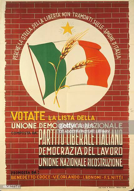 Posters Italy 20th century Vote for National Democratic Union Political propaganda poster for the elections of 1946 Milan Civico Museo Del...