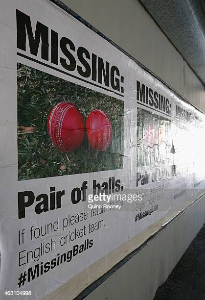 Posters mocking the English cricket team are seen around Melbourne in the lead up to the 2015 ICC Cricket World Cup on February 10 2015 in Melbourne...