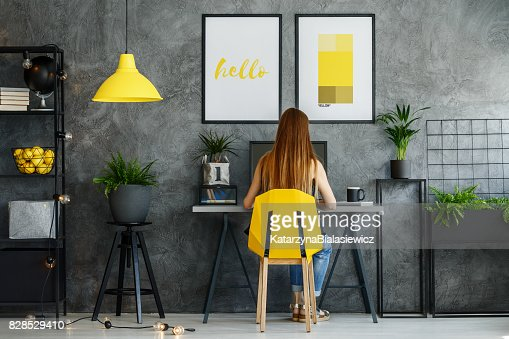 Posters mock-up in study space : Stock Photo