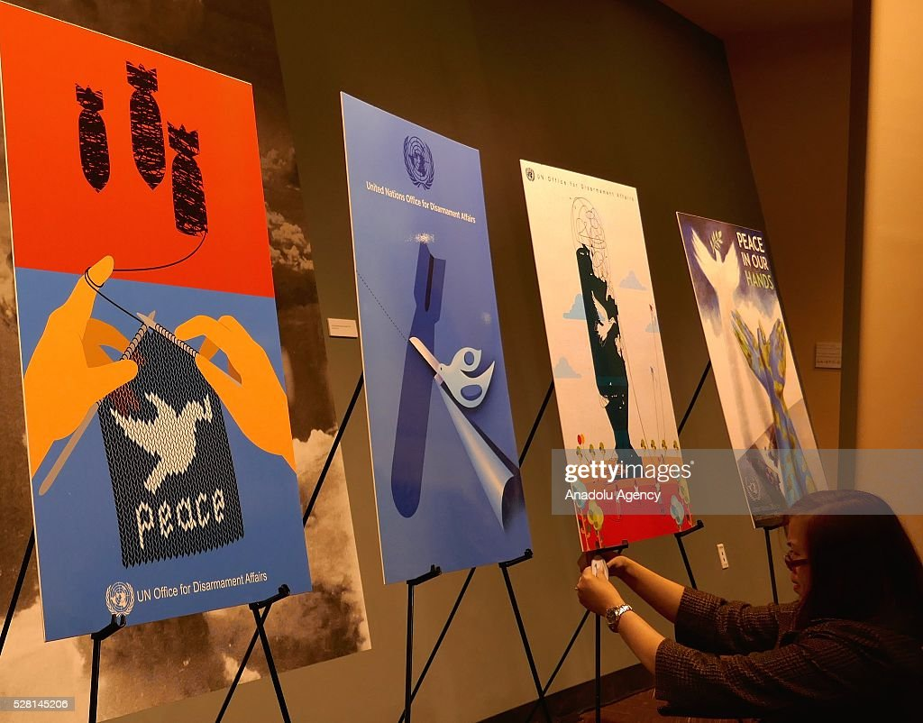 Posters of 'Disarmament Poster for Peace' competition are seen at exhibition area, in which a reception is held for ranking the highest competitors of 'Disarmament Poster for Peace' competition in New York, USA on May 4, 2016.