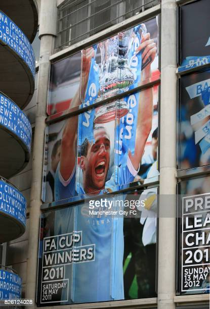Posters of Manchester City's Pablo Zabaleta outside The Etihad Stadium