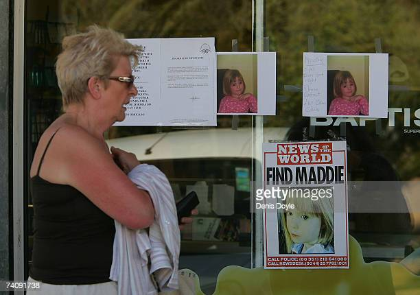 Posters of missing English girl Madeleine McCann are seen at the entrance of a supermarket on May 7 2007 100 meters from where the threeyearold...
