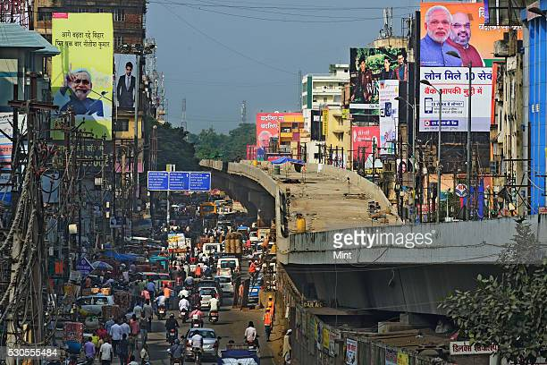 Posters of Prime Minister Narendra Modi and Bihar Chief Minister Nitish Kumar are spread all across main roads of the city during phase 3 of Bihar...