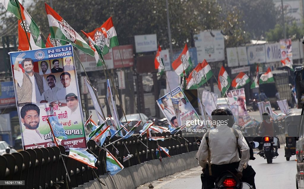 Posters of Rahul Gandhi all over the city to welcome Rahul Gandhi at Vile Parle on Friday, March 1, 2013 in Mumbai, India. He is visiting Mumbai for the first time after he took over as Congress vice president.