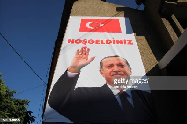 Posters of the Turkish President Recep Tayyip Erdogan and Turkish flags hung in streets prior to the arrival of Erdogan in Novi Pazar Serbia on...