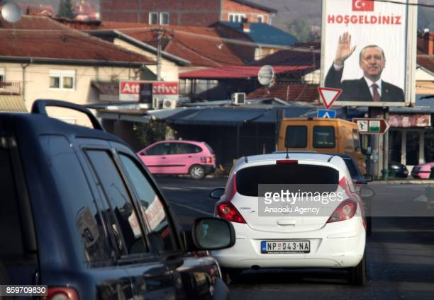 Posters of the Turkish President Recep Tayyip Erdogan hung in streets prior to the arrival of Erdogan in Novi Pazar Serbia on October 10 2017