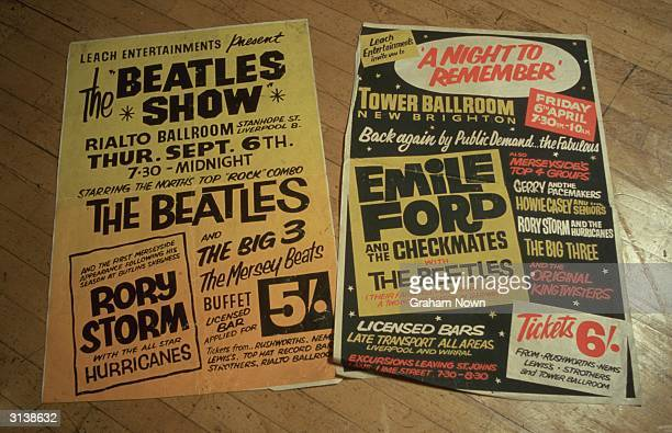 Posters one featuring a misspelling of The Beatles at the bottom of the bill from 'Beatle City' a museum of souvenirs and mementos of the...