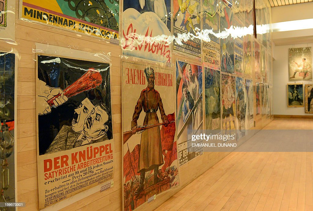 Posters, part of a collection of more than 4,300 pre-World War II posters, looted by the Gestapo during the WWII, are on display prior to be auctioned at the National Bohemian Hall in New York, January 16, 2013. A German court ordered the German Historical Museum, where the posters were kept, to return the collection, gathered by Hans Sachs, a Jewish dentist who fled Nazi Germany, to Hans' son Peter Sachs. The collection will be auctioned on January 18, 2013 with an estimated value at more than 5.8 million dollar.
