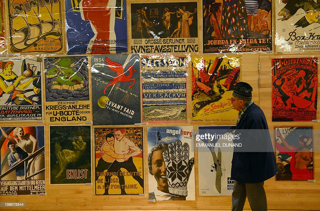 Posters, part of a collection of more than 4,300 pre-World War II posters, looted by the Gestapo during WWII, are on display prior to be auctioned at the National Bohemian Hall in New York, January 16, 2013. A German court ordered the German Historical Museum, where the posters where kept, to return the collection, gathered by Hans Sachs, a Jewish dentist who fled Nazi Germany, to Hans' son Peter Sachs. The collection will be auctioned on January 18, 2013 with an estimated value at more than 5.8 million dollars. AFP PHOTO/EMMANUEL DUNAND