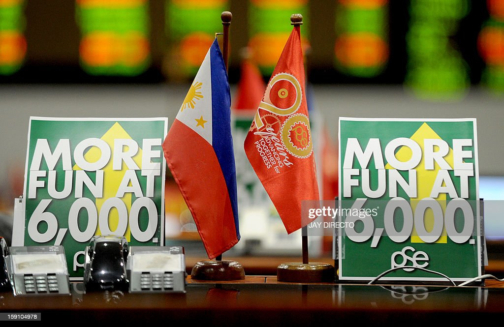 A posters reading' More fun at 6000' at the Philippine Stock Exchange in Manila on January 8, 2013. Share prices hit new record closing highs in the first five trading days of the year and are up four percent compared to end-2012. AFP PHOTO / Jay DIRECTO