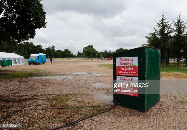 Posters reading 'renovate the left' are displayed during a rally for the launch of a movement led by French Socialist member Benoit Hamon in Reuilly...