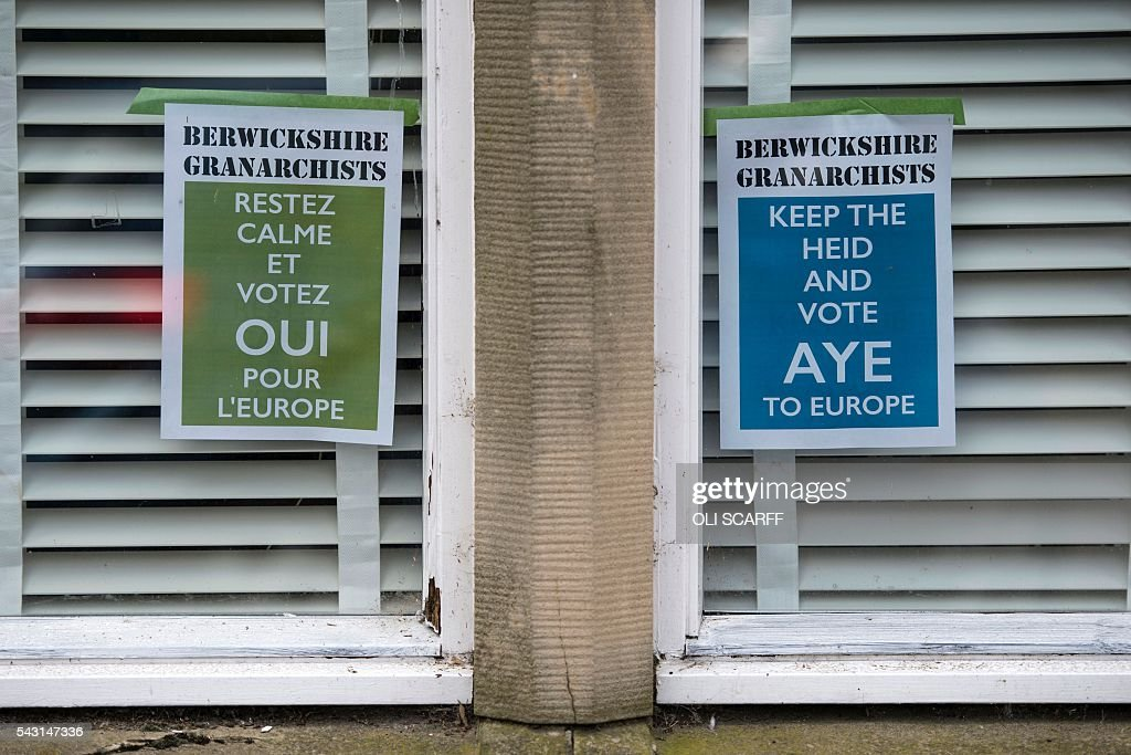 Posters urging people to vote 'Remain' in last week's referendum on the UK's membership of the European Union, are placed in the window of a property in the border town of Coldstream, Scotland close to the border between England and Scotland on June 26, 2016. Scotland's First Minister Nicola Sturgeon campaigned strongly for Britain to remain in the EU, but the vote to leave has given the Scottish National Party leader a fresh shot at securing independence. Sturgeon predicted more than a year ago that a British vote to leave the alliance would give pro-European Scots cause to hold a second referendum on breaking with the UK. SCARFF