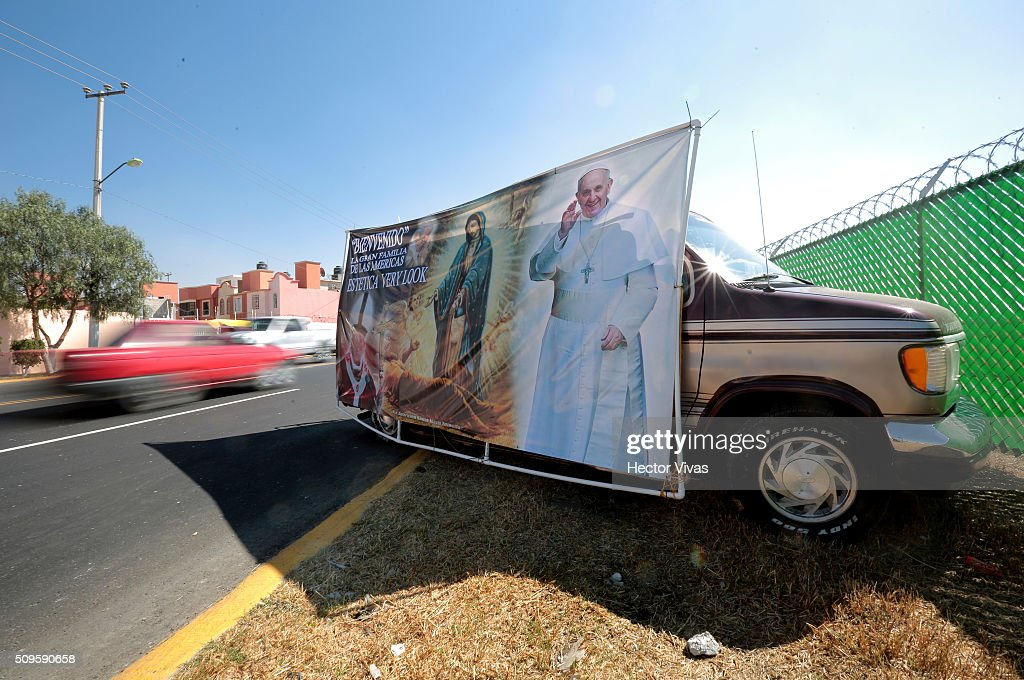 Posters welcoming Pope Francis are seen near the esplanade where Pope Francis will give a mass for 300 thousand people during the preparations ahead the visit of Pope Francis to Mexico at El Caracol on February 11, 2016 in Ecatepec, Mexico.