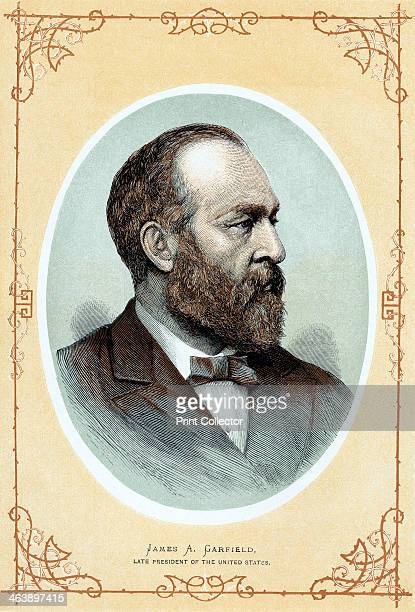Posthomous portrait of James Abram Garfield c1885 The 20th President of the United States Shot 2 July died 19 September 1881 Colourprinted wood...