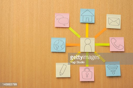 Post-it note to draw a mark : Stock Photo