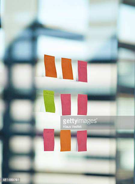 Post-It notes on window