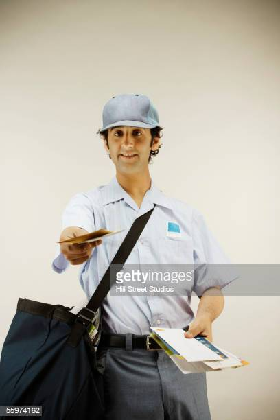 Postman delivering mail
