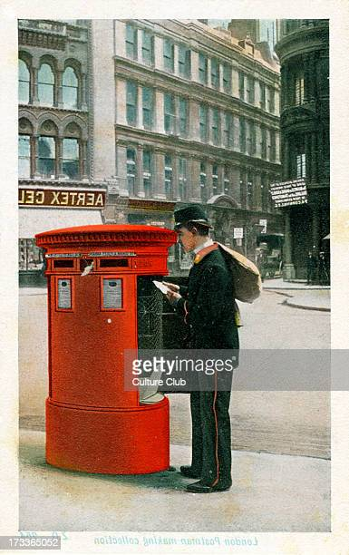 Postman making a collection London Postman in Victorian uniform collecting post from a London postbox