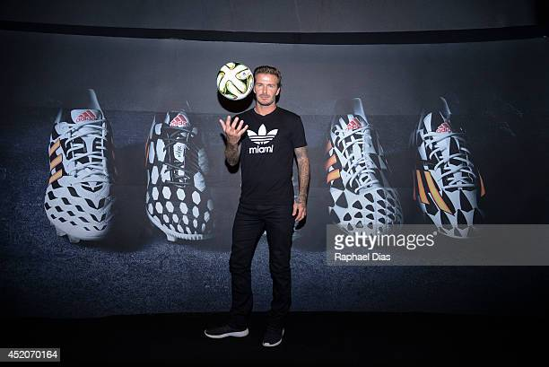 Posto adidas The 'Dugout' YouTube Live TV Show and Press Conference with Guest David Beckham on July 12 2014 in Rio de Janeiro Brazil