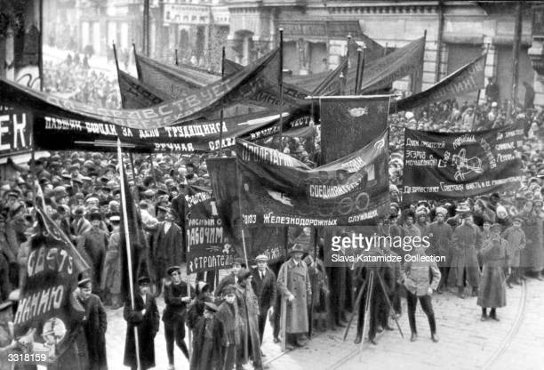 A postRussian Revolution march in support of the new Soviet regime and its leaders Lenin and Trotsky at Vladivostok Russia