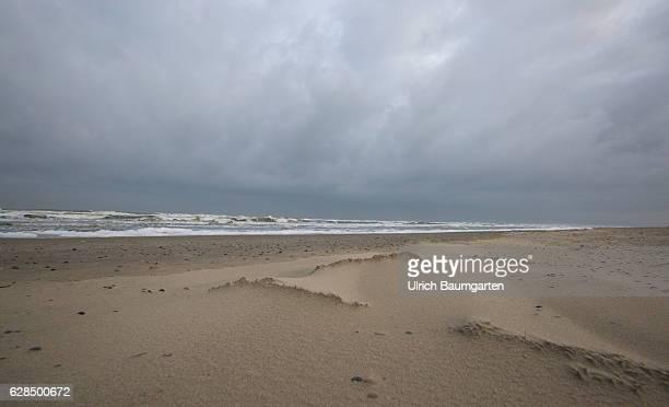 Postseason on the North Sea Island of Juist Autumnal mood with dark clouds on the coast