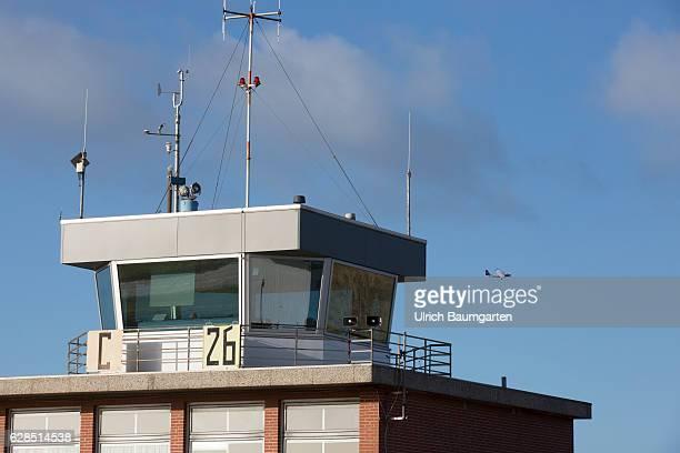 Postseason on the North Sea Island of Juist Tower of the airfield on Juist