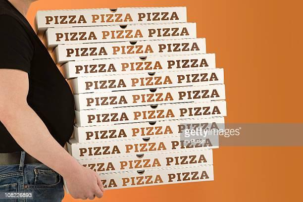 Ventripotent entouré par Boîte à Pizza