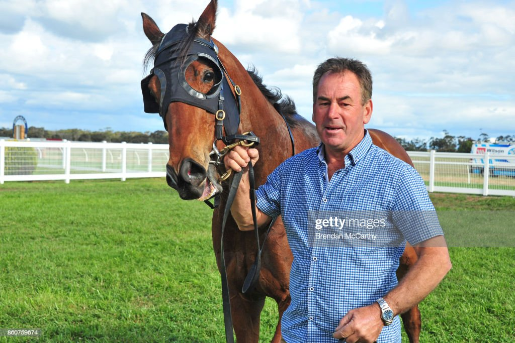 Pot Black and Neil Dyer after winning the Pea Co BM64 Handicap at Donald Racecourse on October 13, 2017 in Donald, Australia.