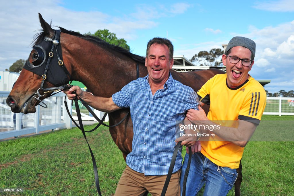 Pot Black, Neil Dyer and Scott Leckey after winning the Pea Co BM64 Handicap at Donald Racecourse on October 13, 2017 in Donald, Australia.