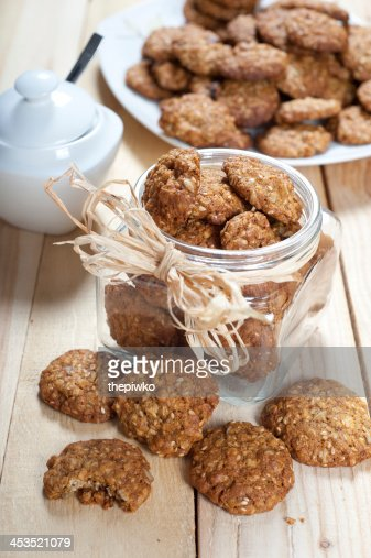 Pot full of healthy muesli cookies : Stock Photo