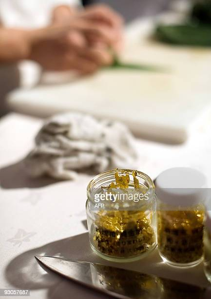 A pot of gold leaf is opened ready to add to sushi at the 'Seven Sushi Samurai' Sushi of the Year awards 2009 at the Olympia exhibition centre in...