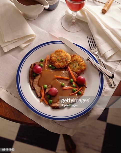 Pot roast and potato pancakes