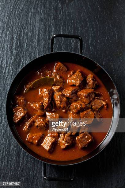 Pot with beef goulash