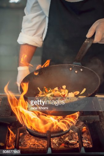Pot with fire : Stock Photo