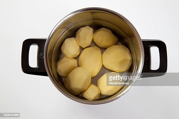 Pot with peeled potatoes