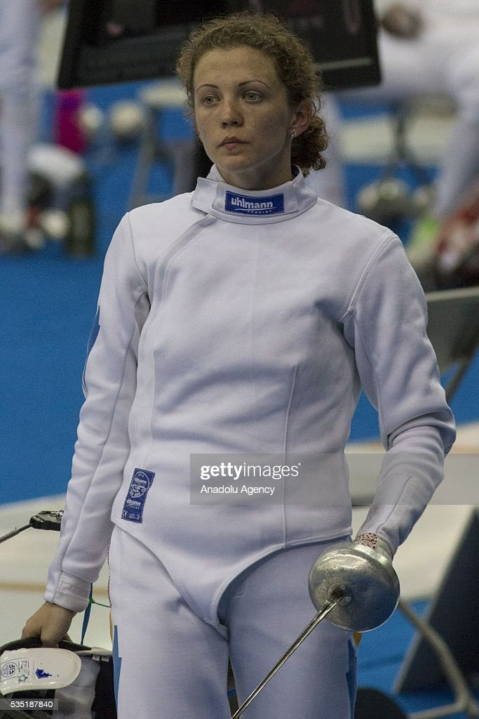 Potapenko Elena from Kazakhstan competes in the fencing at the mixed relay World Championship in modern pentathlon in Olympic Sports Complex in Moscow, Russia, on May 29, 2016.