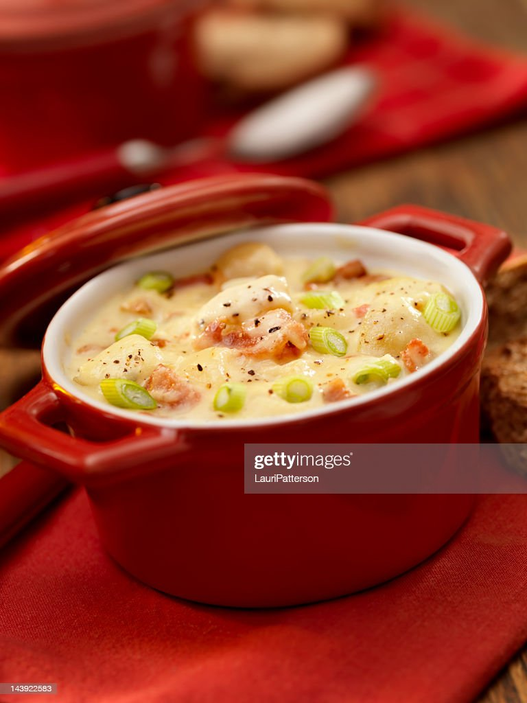 Potato and Bacon Soup with Green Onions : Stock Photo