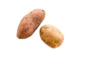 Potato and Sweet Potato on white background