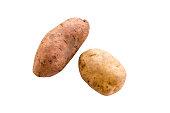 Potato and Sweet Potato on white background