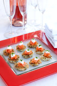 Potato Cake canapes with Smoked Salmon, sour cream
